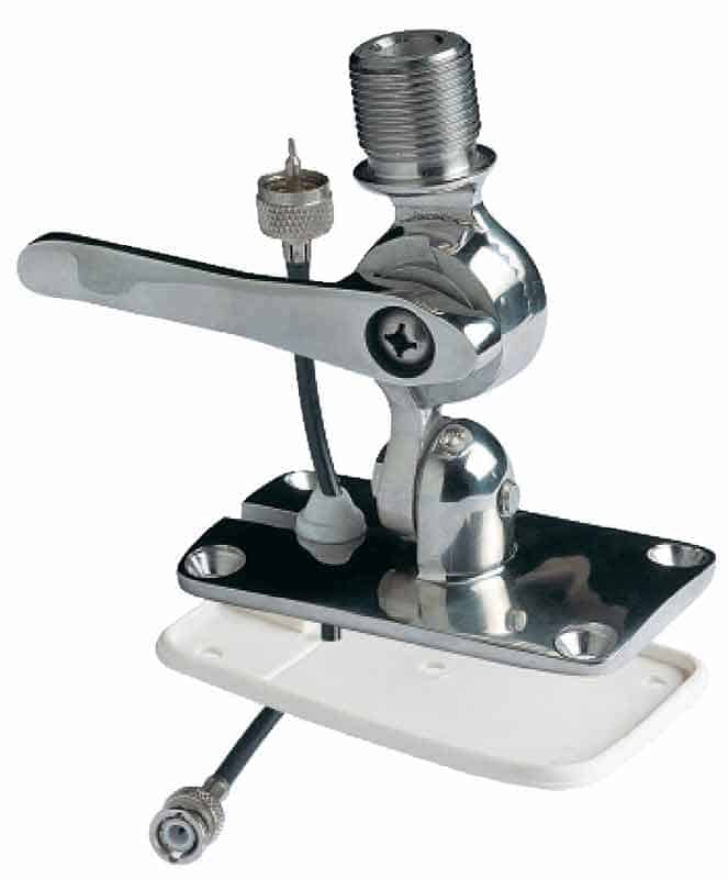 Glomex RA166/00 Stainless Ratchet Mount with Cable Access - bluemarinestore.com