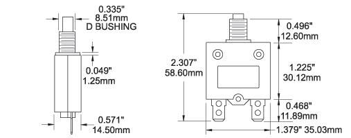 20 amp 12 volt Blue Sea Systems 7057 Push Button Circuit Breaker